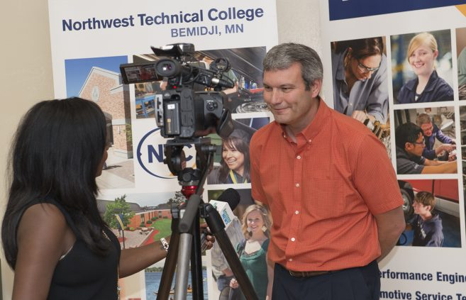 Darrin Strosahl is interviewed by Lakeland Public Television following the open house