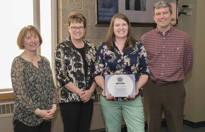 Grace Ferdiandt (2nd from right) from NTC's Office of Financial Aid won the Sprit of NTC Award. She's pictured with VP Karen Snorek (left), President Faith Hensrud and VP Darrin Strosahl.