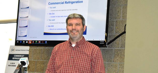 Darrin Strosahl, vice presiden for academic affairs at Northwest Technical College, announcing the launch of NTC's Commercial Refrigeration/HVAC program on April 2, 2018.