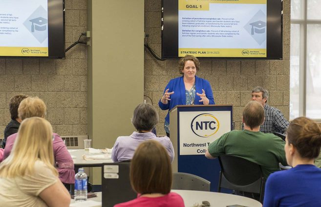 Michelle Frenzel, executive director of enrollment management, recaps Priority 2 of NTC's Strategic Plan 2018-2023 at a May 9 presentation on campus.