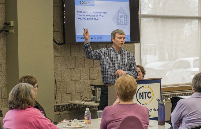 Darrin Strosahl, vice president of academic & student affairs, recaps Priority 3 of NTC's Strategic Plan 2018-2023 at a May 9 presentation on campus.