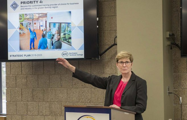 Michelle Brielmaier, director of nursing & health services, recaps Priority 4 of NTC's Strategic Plan 2018-2023 at a May 9 presentation on campus.