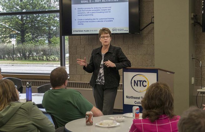 President Hensrud takes questions following the unveiling of NTC's Strategic Plan 2018-2023 at a May 9 presentation on campus.