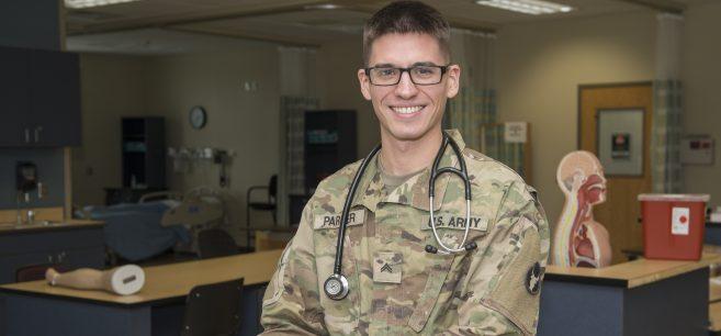 Sebastian Parker in the nursing lab at NTC