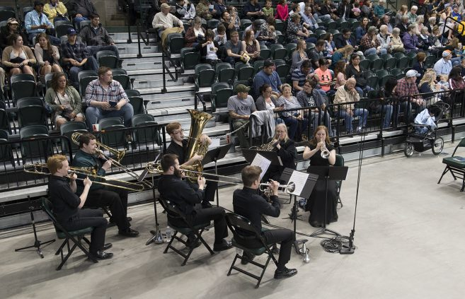 The BSU brass ensemble played as graduates entered the Sanford Center.