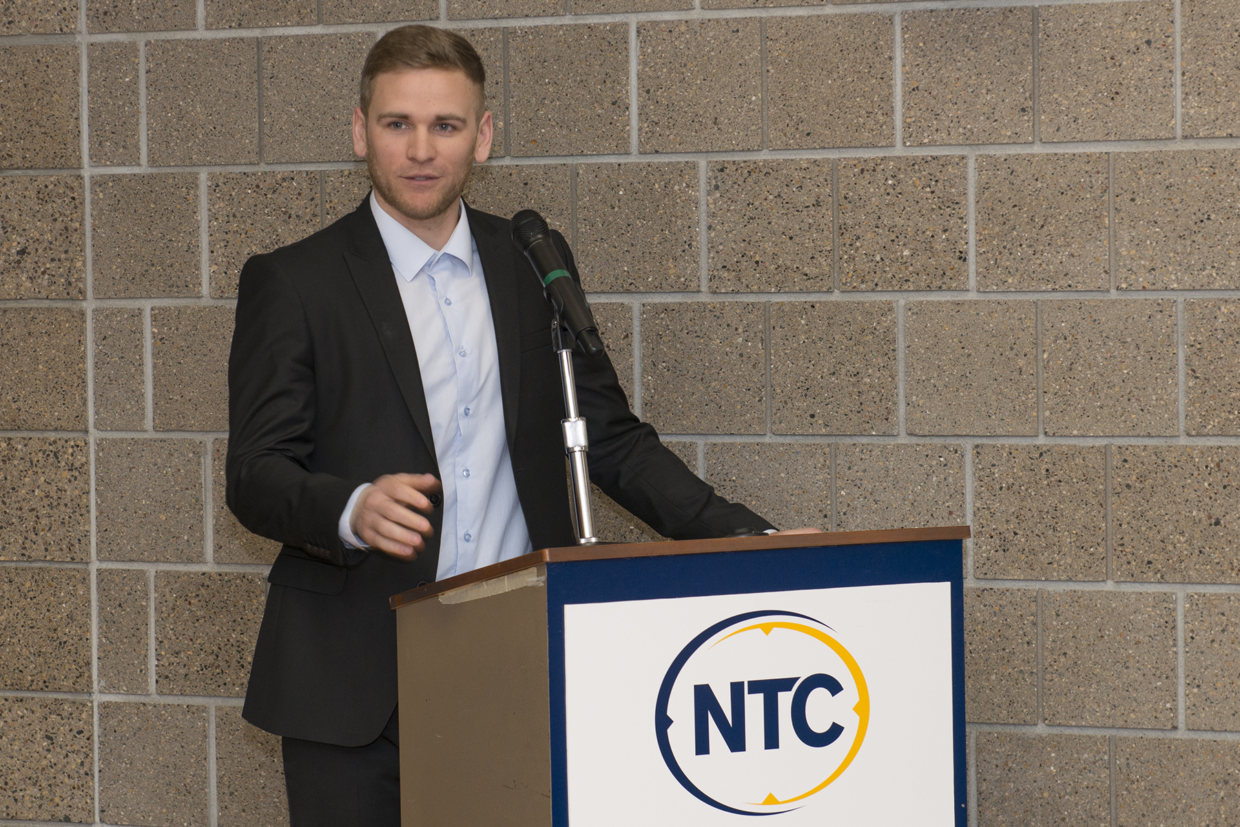 Tyler Peterson, NTC student success coordinator speaking at the first annual Student Achievement Awards ceremony.