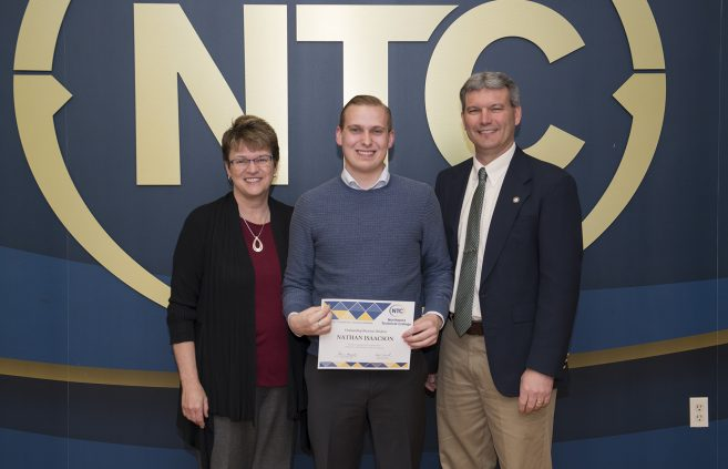 Nathan Isaacson, a freshman from Monticello, Minn. won the Outstanding Business Student Award.