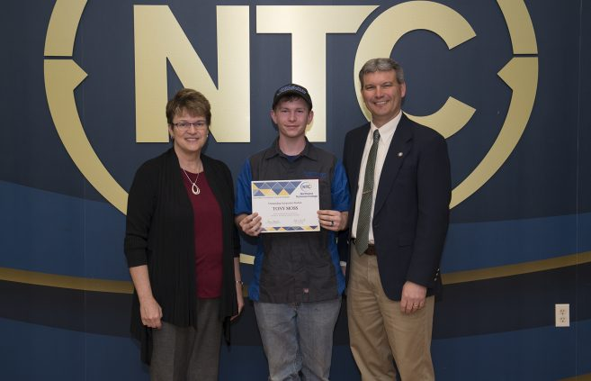 Tony Moss, a freshman from International Falls, Minn. won the Outstanding Automotive Student Award.