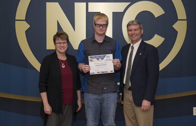 Jacob Windt, a freshman from Deer River, Minn. won the Most Improved Automotive Student Award.