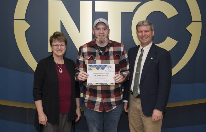 Thomas Person from Bemidji, Minn. won the Outstanding Plumbing and HVAC Student Award.