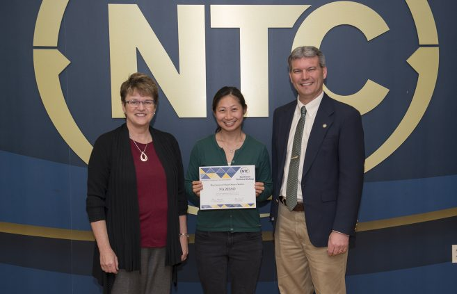 Na Zhao, a student in the health sciences program from Bemidji, Minn. won the Most Improved Health Sciences Student Award.