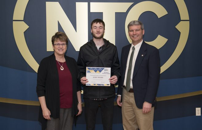 John Weeks, a freshman from Cavalier, North Dakota won the Outstanding Emerging Technology Student Award.