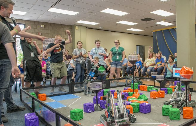 Fifty Vex Robotic Campers wrapped up their week long camp with a competition in front of friends and family in the NTC Commons.