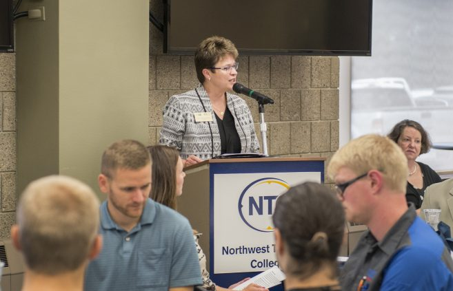 President Hensrud speaking at the NTC Scholarship Breakfast.