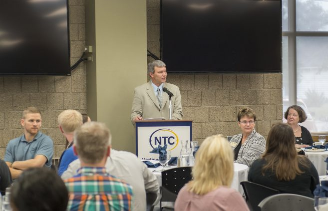 NTC vice president Darrin Strosahl speaking at the NTC Scholarship Breakfast.