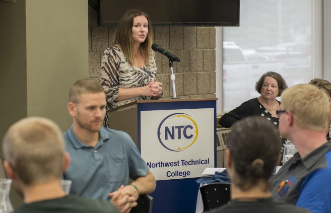 Ashley Johnson, foundation development officer, speaking at the NTC Scholarship Breakfast.