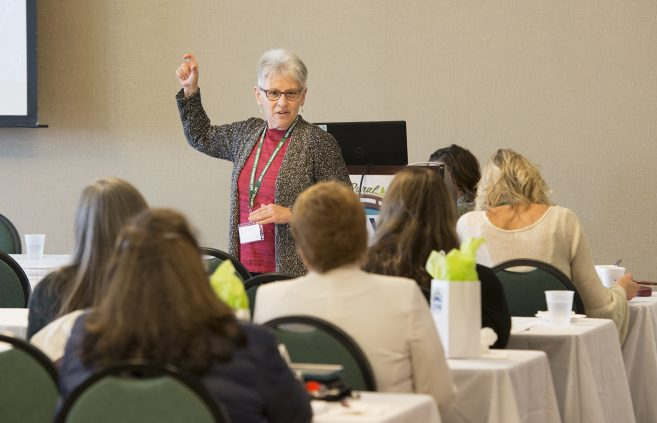 Suzanna Koepplinger, direct of Catalyst Initiative at the Minneapolis Foundation, presenting at the conference.