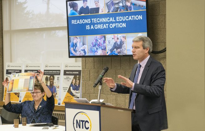 Darrin Strosahl, vice president of academic affairs at NTC, and President Hensrud presented about technical careers.