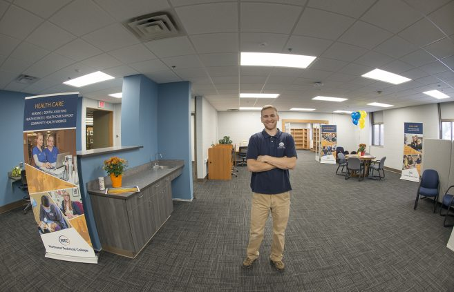 Tyler Peterson, Student Success Center director, in the newly renovated space.