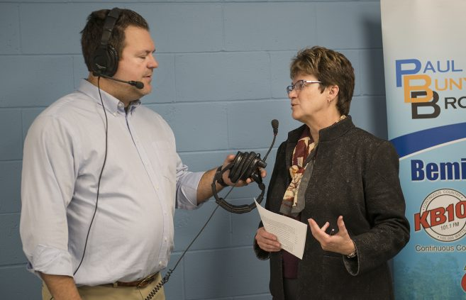 President Faith C. Hensrud on air with Paul Bunyan Broadcasting during the Day of Giving.