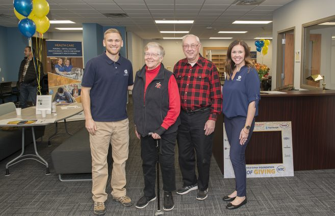 Peterson along with donors Keith and Eva Olson and Ashley Johnson, NTC Foundation executive director, in the Student Success Center.