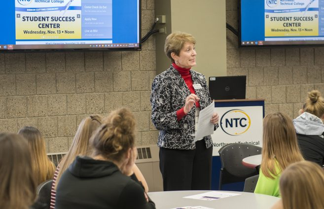 Michele Brielmaier speaking to high schoolers visiting NTC.