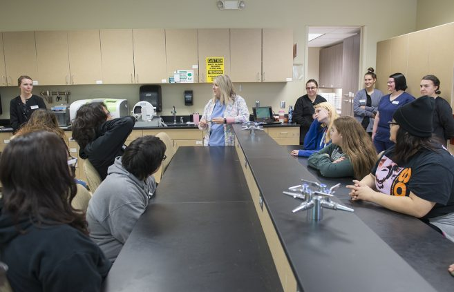 High school students visiting NTC during Health & Human Services Program Day.
