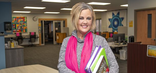 Kari Kuechenmeister, a nontraditional student at Northwest Technical college earns a health science degree and certificates in gerontology and community health.