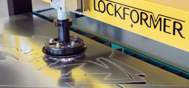 The Vulcan 2000 cutting sheet metal.