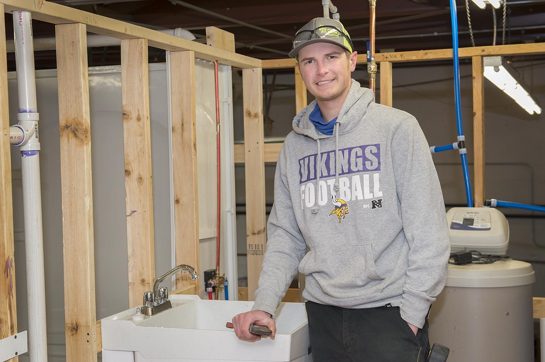 Steven Kemp in the plumbing lab