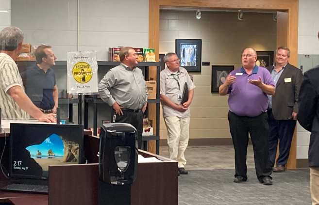 Monty Johnson, dean of skilled trades, business and industry, discussing NTC's programs in the Student Success Center.