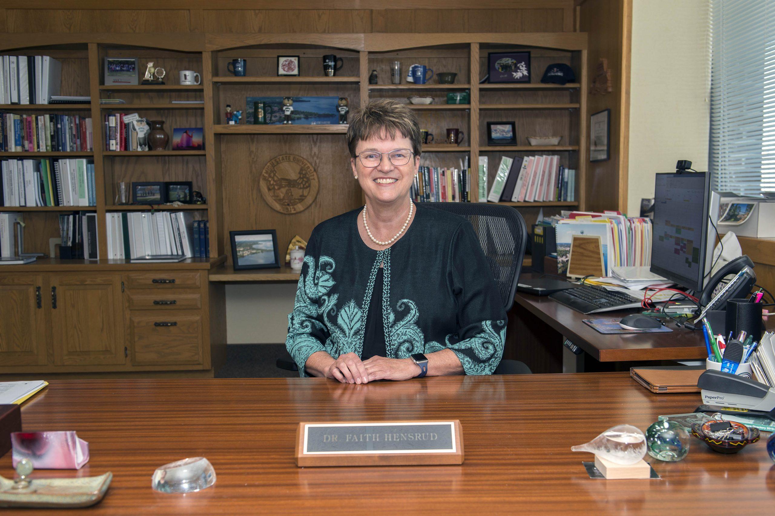 President Faith C. Hensrud in the BSU Presidential Office