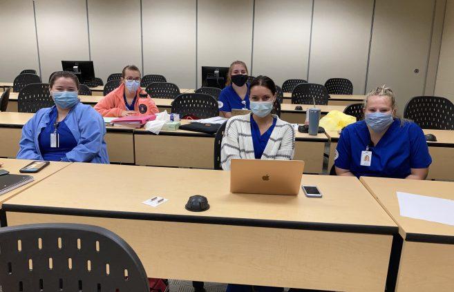 practical nursing program students preparing for the dementia lab